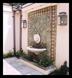 New fountain and custom tile work for addition to Virginia home, designed by Candace Smith Architect