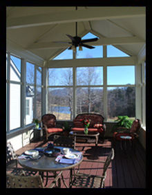 A vaulted beadboard ceiling and hardiplank kneewalls with drink shelf highlight this new screened porch addition for a residence in Nellysford, Virginia, near Wintergreen, designed by Candace M.P. Smith Architect